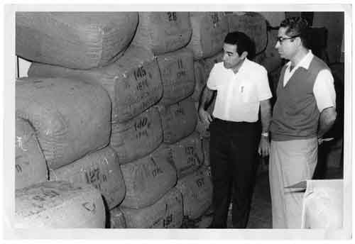 José O. Padrón and Roberto Martínez inspecting the first shipment  of Nicaraguan tobacco to the United States, 1967.
